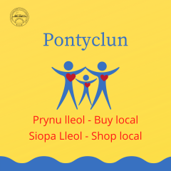 Buy local Shop local Pontyclun logo